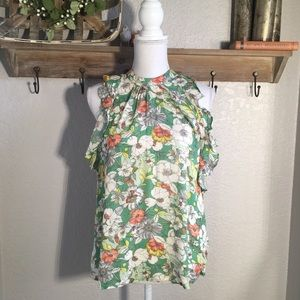 Maeve Anthropologie Floral Sleeveless Ruffle